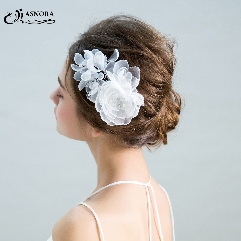 ASNORA Headpiece Hairwear Flower Bridal-Hair-Accessories Pearls Handmade Wedding White
