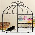 1PCS 430*260mm Bird Cage Iron  Earrings Necklace Display Jewelry Stand Holder  40Holes 10Hooks Black,White,Pink