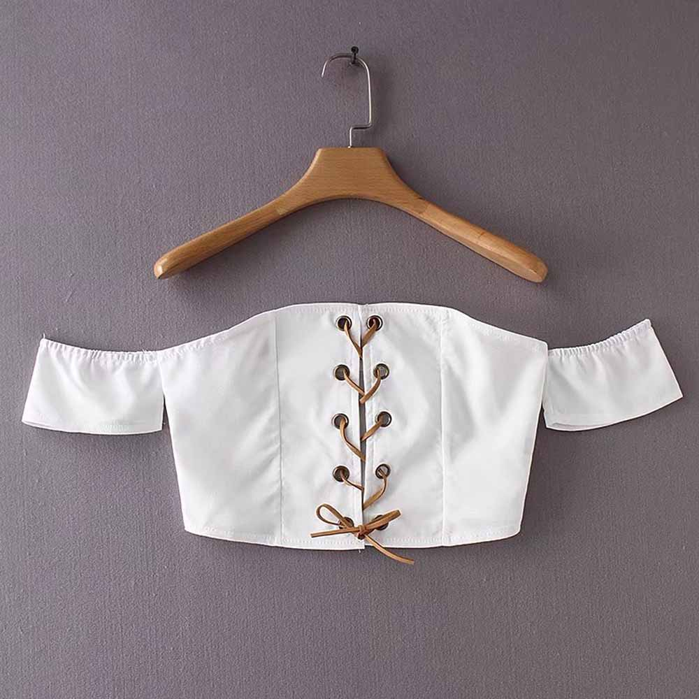 FIRSTTO Sexy White Bra Bustier Chest Eyelet Cross Tied Bow Off The Shoulder Pullover Fitness Slim fit Tank Tops Short Crop Tee