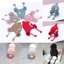 все цены на Warm Winter Knitted Girls Boys Beanie Cap With Pompom Protect Ears Rabbit Hats Cute Cartoon Baby Hat For Kids Bonnet Hat онлайн