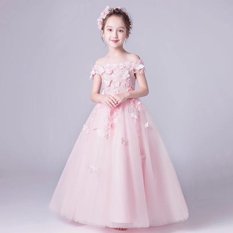 2018 Children Royal Princess Flowers Shoulderless Birthday Ball Gown Dress Sweet Luxury Kids Pageant For Wedding party Dress 2018 royal princess shoulderless flower ball gown dress long tailing sweet luxury backless kids pageant for birtyday party dress