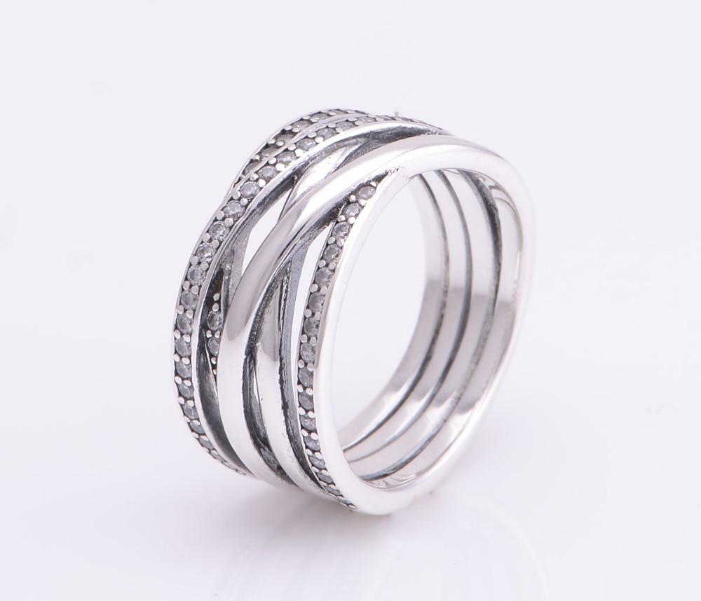 Favoloso 925 sterling silver new pave zircone scintillante intrecciati  MZ18