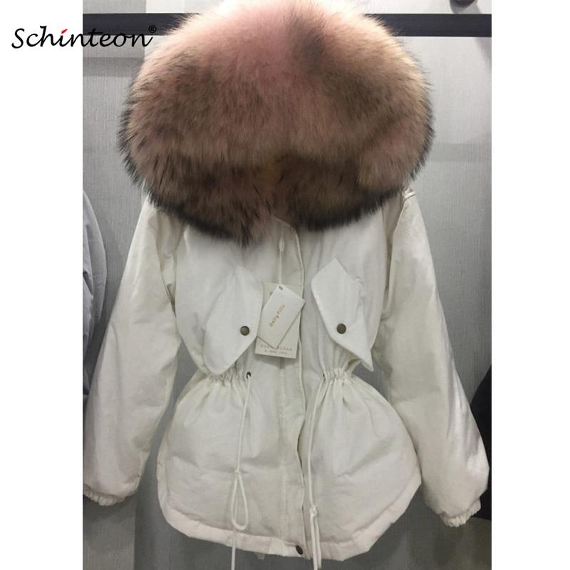 Schinteon invierno mujer cálida chaqueta con gran 100% Real Natural piel de mapache cuello capucha abrigo grueso cintura ajustable-in Plumíferos from Ropa de mujer    1