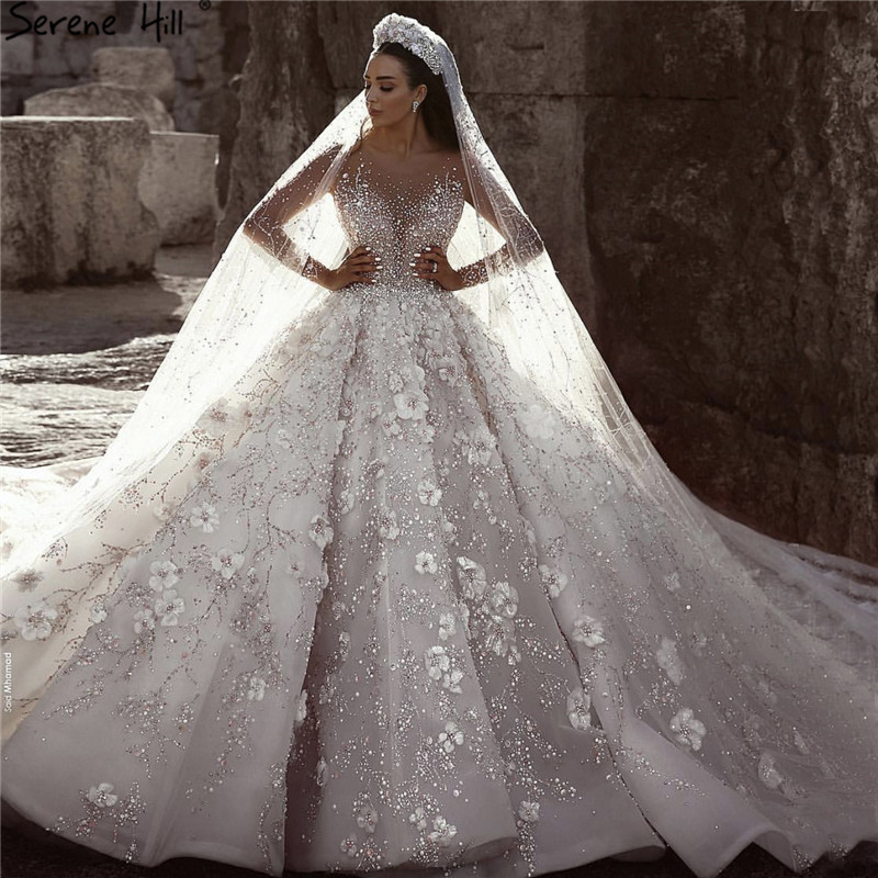 Extreme Luxury Ivory Long Sleeves Wedding Dresses 2019 High-end Handmade Flowers Sequined Bridal Gown HA2213 Custom Made