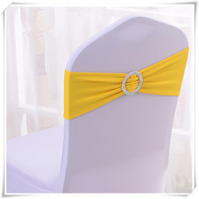 цена на Fancy yellow spandex strech chair band with buckle good price top selling free shipping
