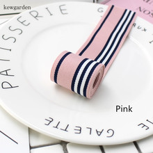 Kewgarden 35mm 3.5cm Stripe Polyester Satin Ribbons Handmade Bowknot Yarn Ribbon DIY Riband Garment Accessories 5M/Lot