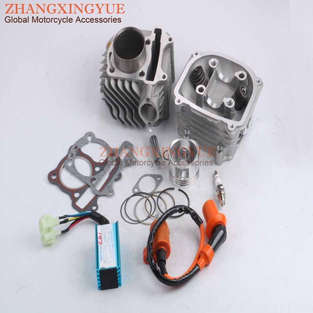 52.4mm Cylinder Block Kit & Cylinder Head Kit & AC CDI Ignition Coil for GY6 125cc 152QMI 4T Scooter ATV