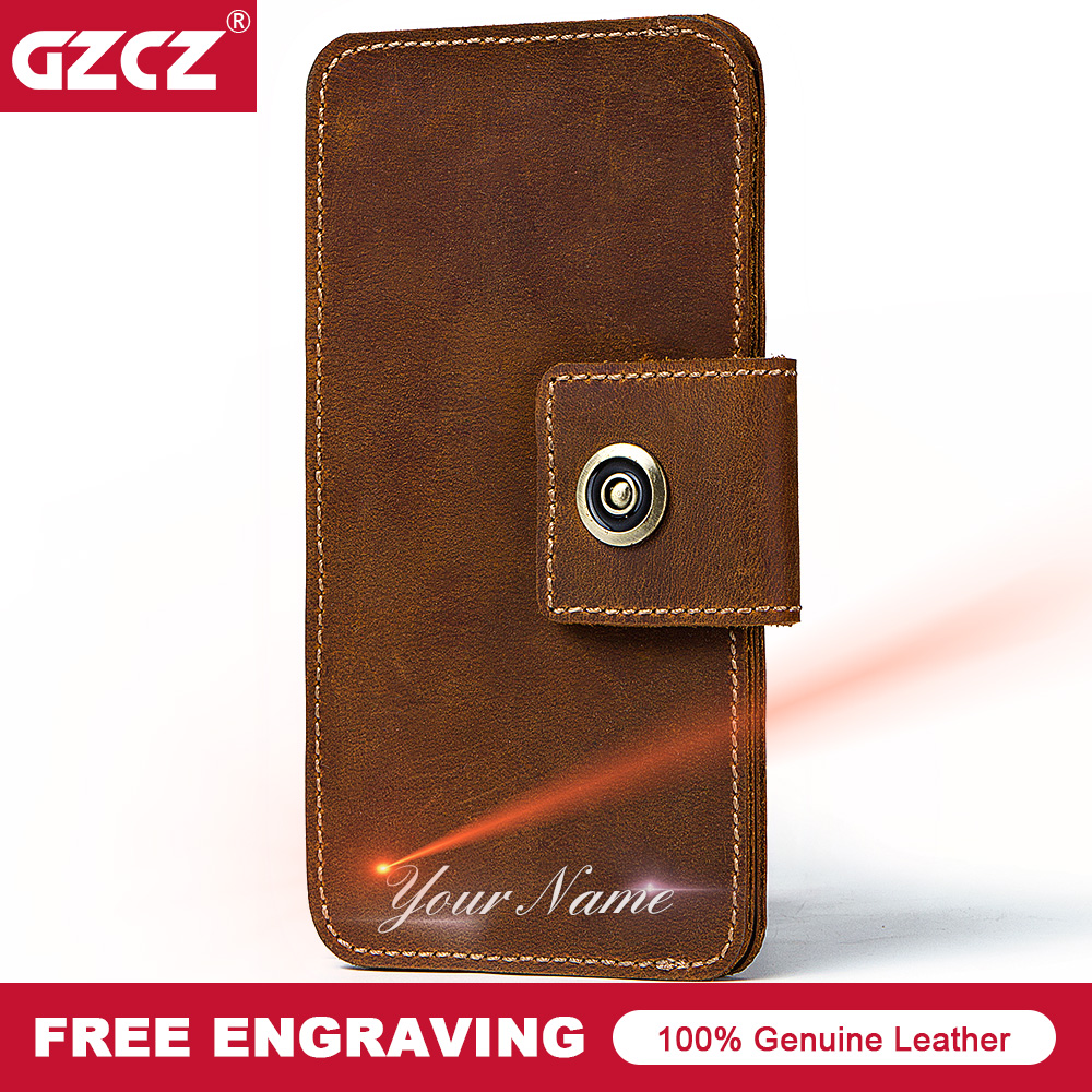 GZCZ New Cowhide Leather Men Wallet Vintage Cell Phone Pocket Purse Free Engrave Name Long Male Walet Clamp For Money Portomonee