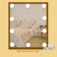 USB אור מראת איפור 10 יחידות נורות LED עם תפקוד זיכרון דימר מתג קיר סלון Bedrrom לשולחן איפור מנורת