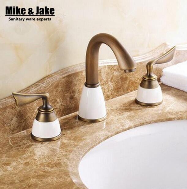 Double poignée en céramique blanche Antique bassin robinet mitigeur 3 pièces ensemble antique en laiton robinet salle de bains évier robinet bassin mélangeur vintage