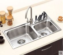 Free shippingMultifunctional stainless steel sink  304 double groove package kitchen vegetable washing basin with a knife