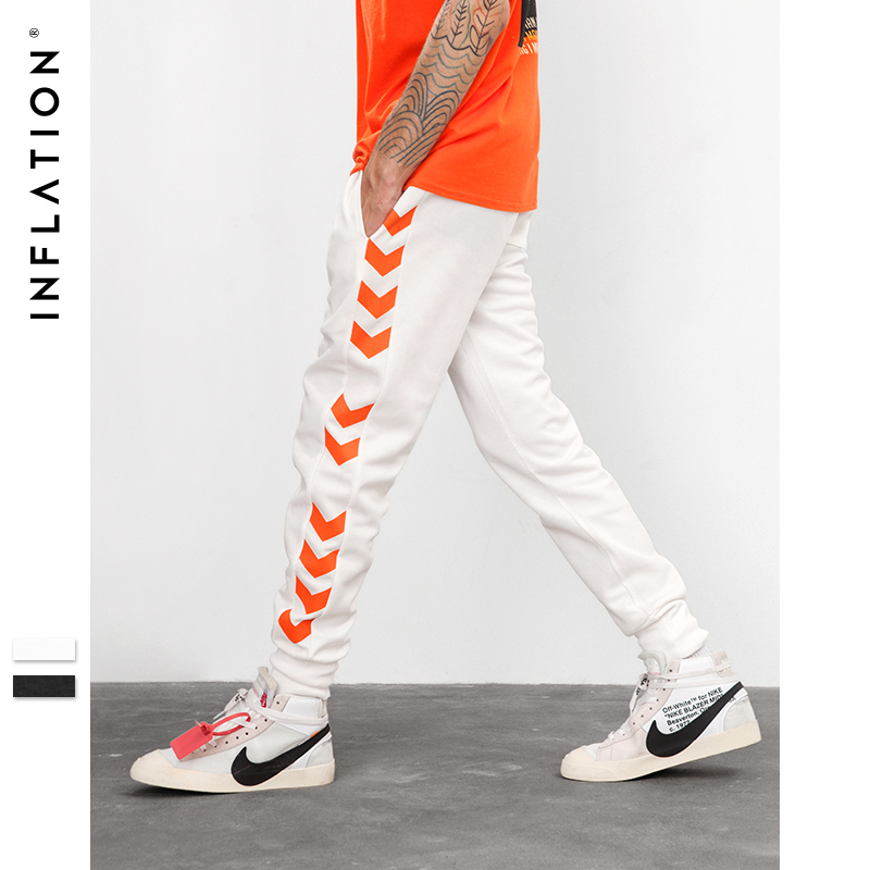 Best buy ) }}INFLATION 2018 A/W Sweatpants Side Traffic Lane Line Printed Male Streetwear Track Pants Trousers Casual