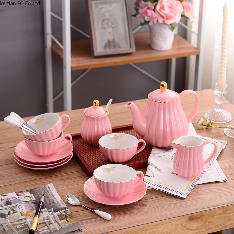 English Pink Girl Heart Coffee Cup Set European Ceramic Simple Afternoon Tea Set Tea Set Creative American Coffee Cup