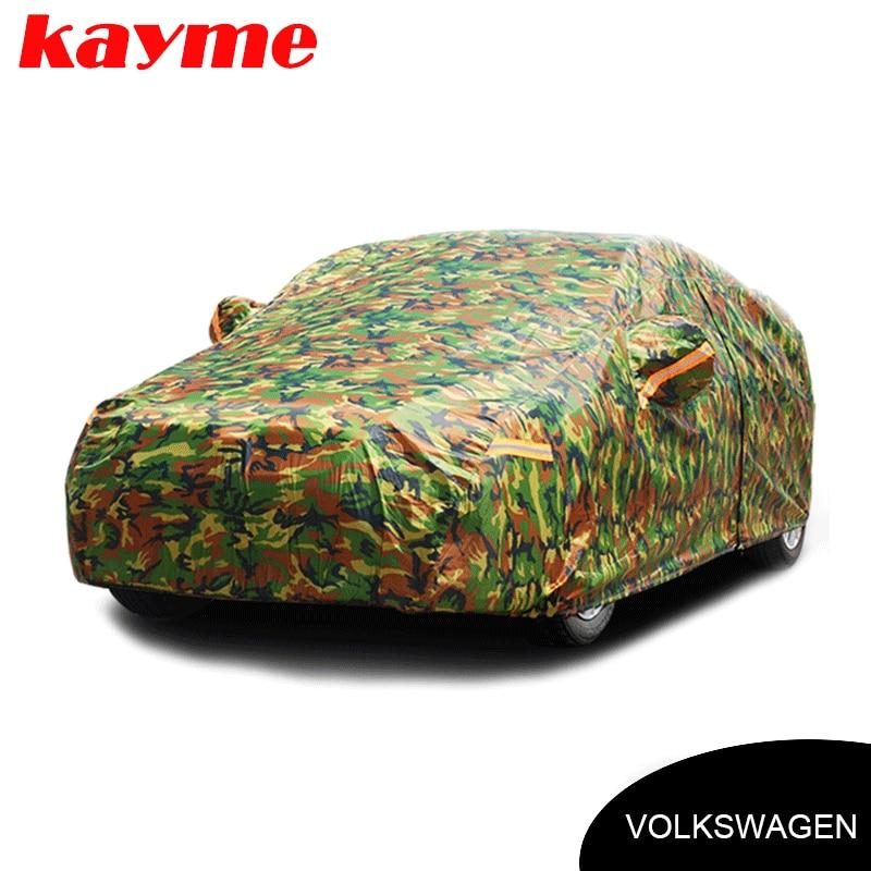 Kayme wodoodporny kamuflaż pokrowce samochodowe na zewnątrz do samochodu Volkswagen VW Golf 4 5 67 Passat B5 B6 Tiguan Touareg