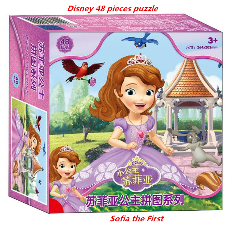 Hot Disney Frozen Puzzle Small Princess Sofia McQueen48/40 Pieces Model Toys For Children Gifts Ariel Rapunzel High Quality