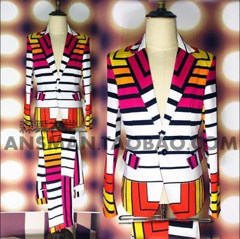 Men's new fashion  slim Male singer DJ nightclub Color geometry  singer costumes stage formal dress clothing