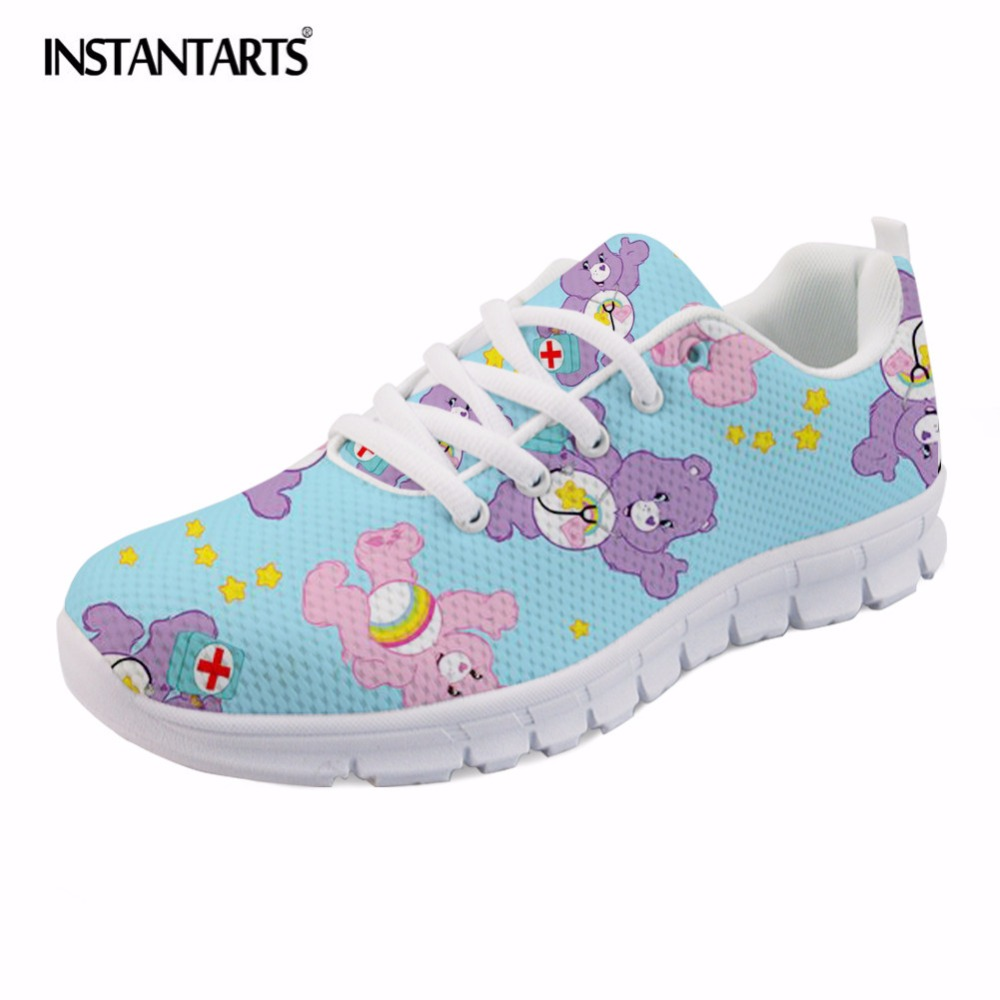 INSTANTARTS Nursing Casual Mesh Sneakers Women Fashion Breathable Flat Shoes 3D Cartoon Nurse Bear Pattern Woman's Lace Up Flats