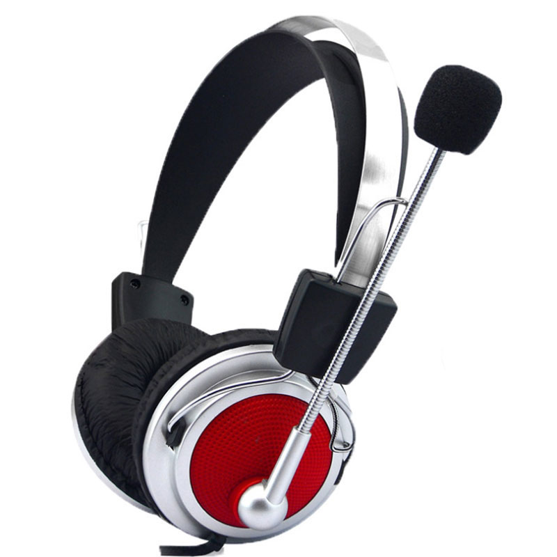 AHHROOU Wired Headphones with Microphone Adjustable Over Ear Gaming Headsets Earphones Low Bass Stereo for PC