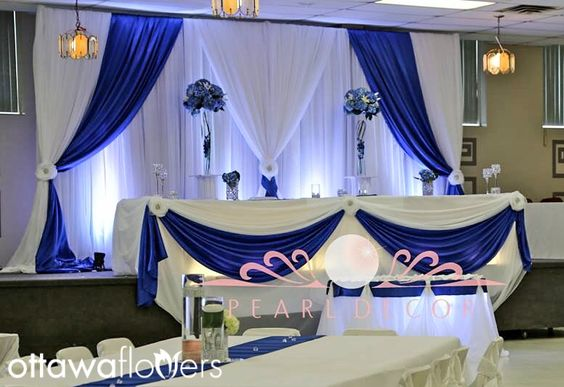 Free Shipping White Wedding Backdrop With Royal Blue Swags 3m Tall X
