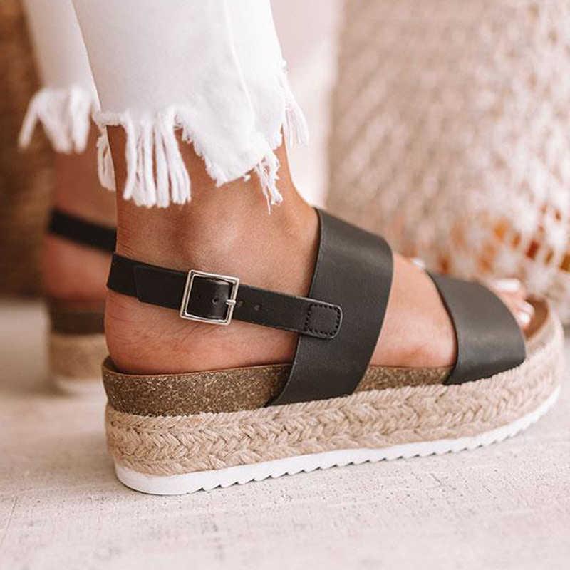 Puimentiua big verkauf Sommer Leopard High Heels Keile Plattform Frauen Sandalen Für Weibliche Gurt Komfort Casual Damen Schuhe