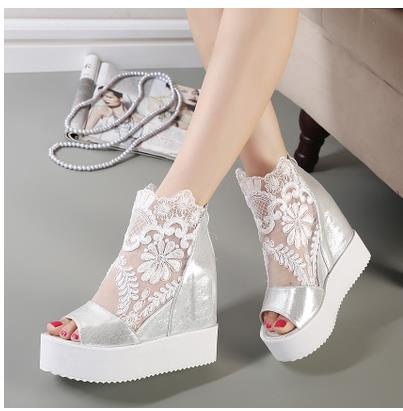 ФОТО 2016 elevator platform wedges lacing open toe open toe sandals female black silver white color free shipping