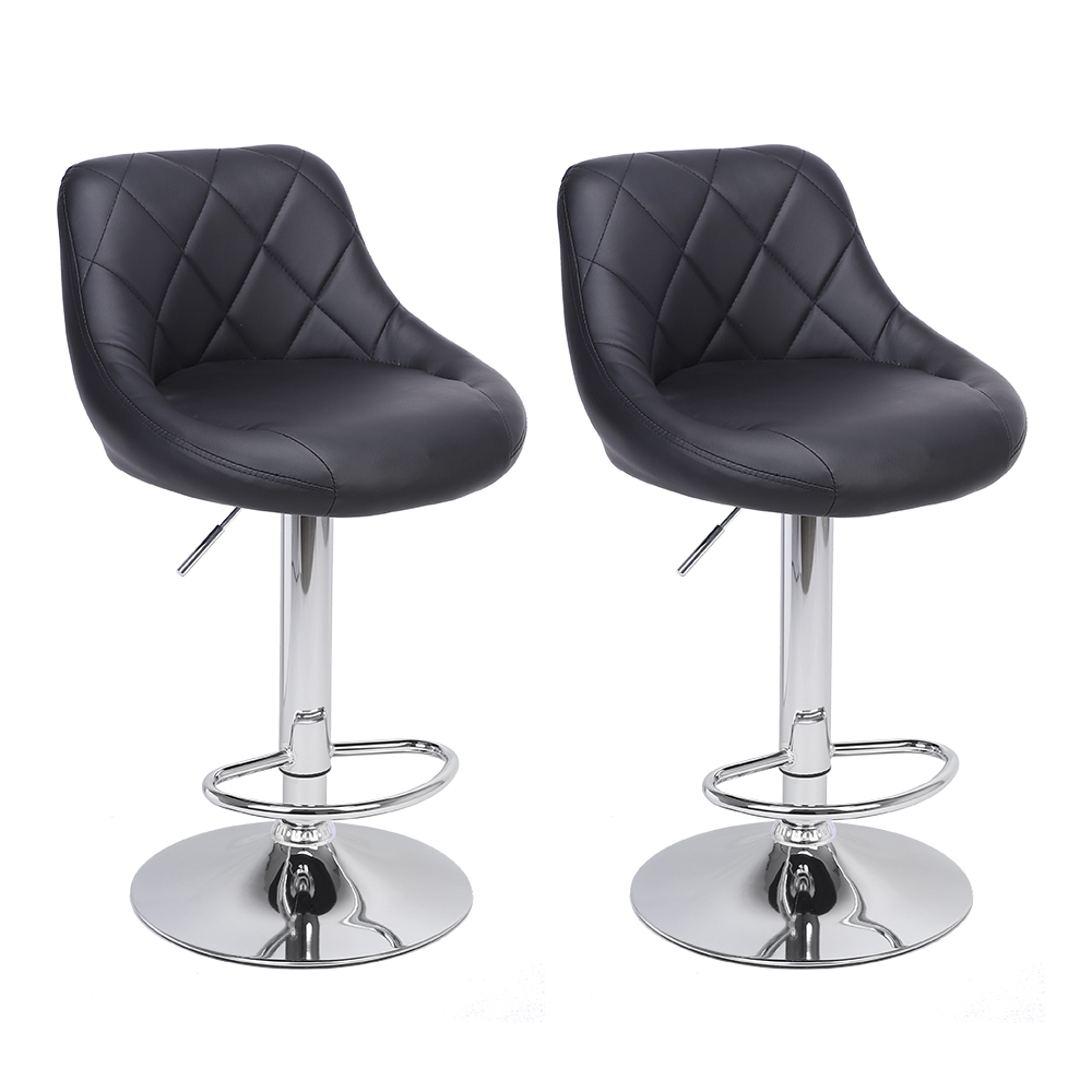 2pcs Adjustable High Type With Disk No Armrest Rhombus Backrest Design Bar Stools