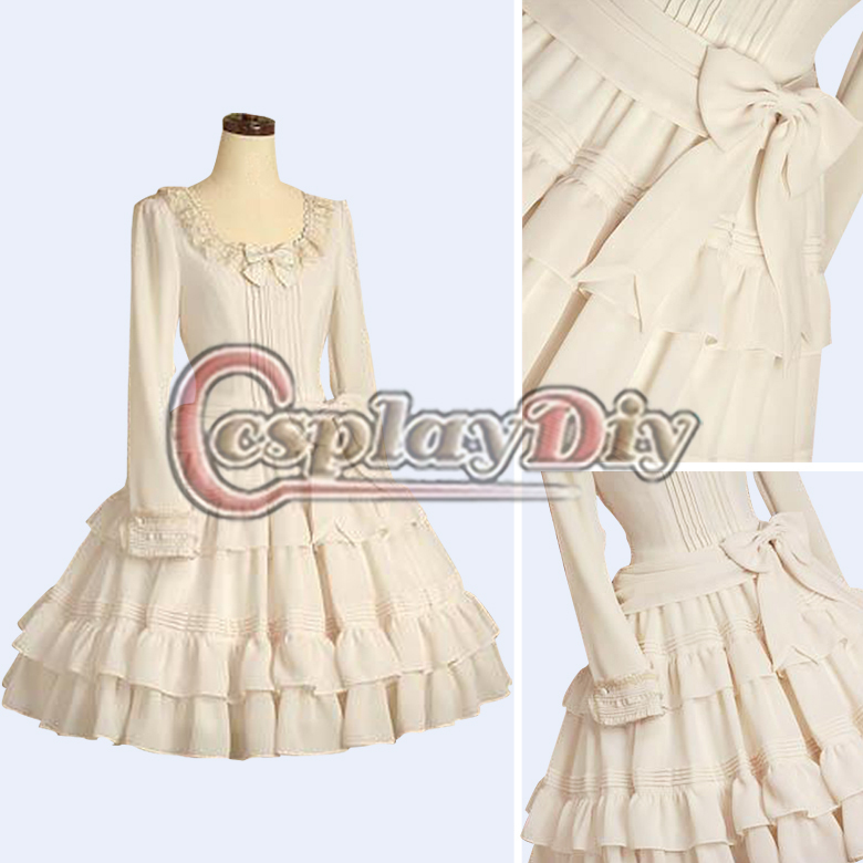 My Cosplay World Custom Made Two Colors Long Sleeve Lace Ruffles Dress Classic Lolita Dress Costume D106