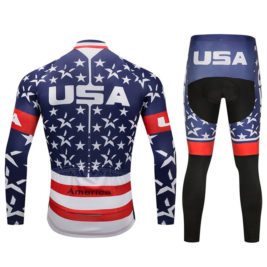 TELEYI Men Cycling Jersey Pro Team USA Long Sleeve Breathable Set Ropa Ciclismo MTB Pants Suit Spring/Autumn Cycling Clothing