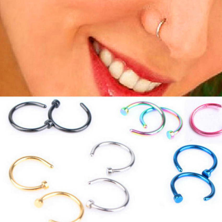 Hoop Nose-Ring Piercing Body-Clip Gold Fake-Septum Silver Titanium Kawaii Women Fashion