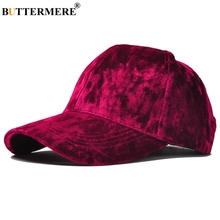 BUTTERMERE Brand Burgundy Velour Baseball Cap For Women Designer Adjustable Hat Korean Casual And Gorra Beisbol