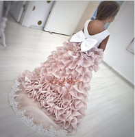 2016 Tiered Flower Girl Dresses With Long Train For Wedding Lace Communion Dresses For Girls Pageant