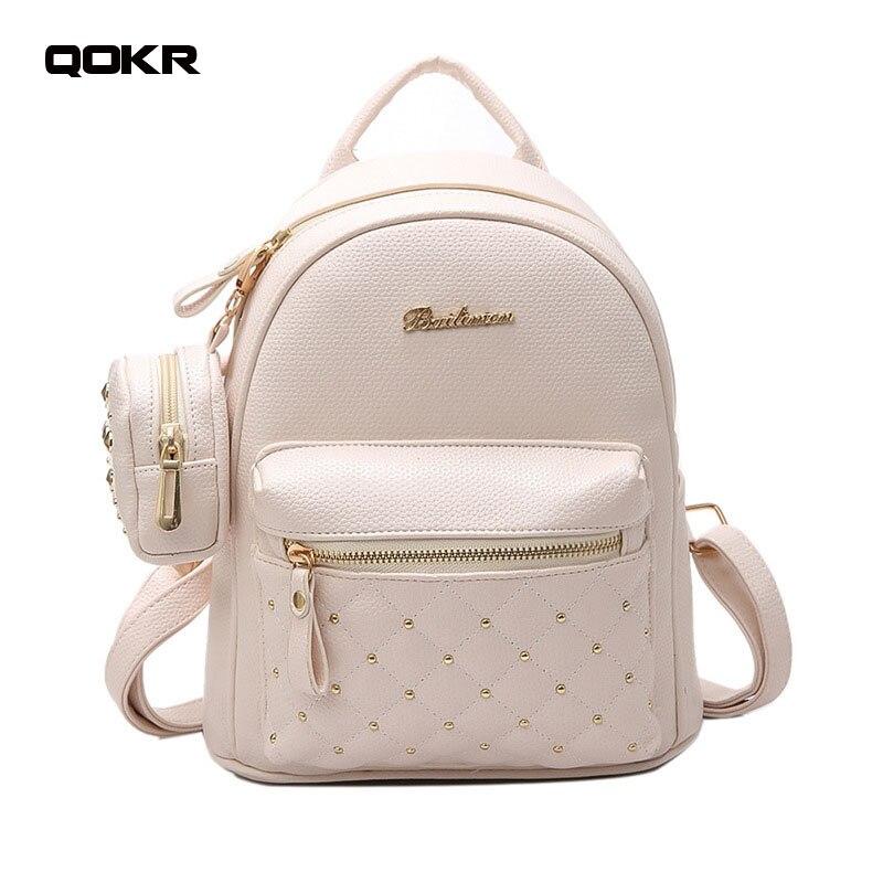 Vintage Retro Lady PU Leather Bag Small Women Mini Backpack Mochila Feminina School Bags for Teenagers Bolsa brand new QOKR рюкзак new brand closue pu mochila 39793990870zl