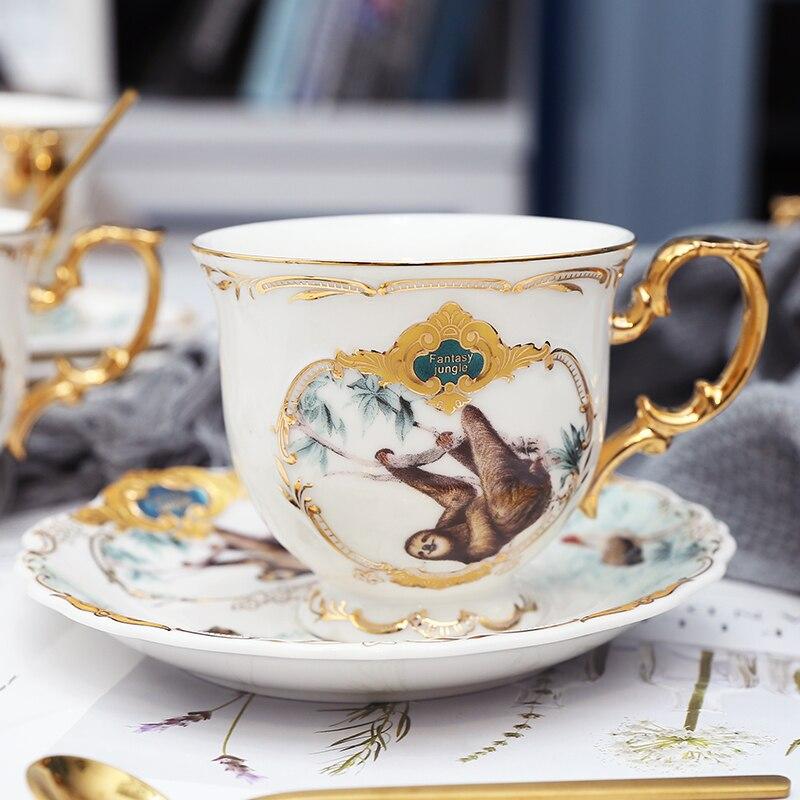 Новое поступление фарфоровая кофейная чашка набор джунглей животных кофейная чашка и блюдце Птица Обезьяна Стиль Золотая кость Китай чайная чашка