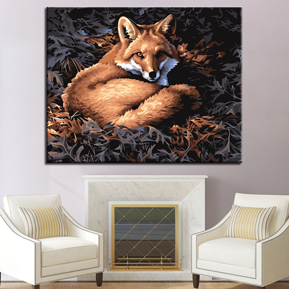 Diy Digital Painting Framework By Numbers Acrylic Paint Abstract Fox Wall Art Canvas For Home