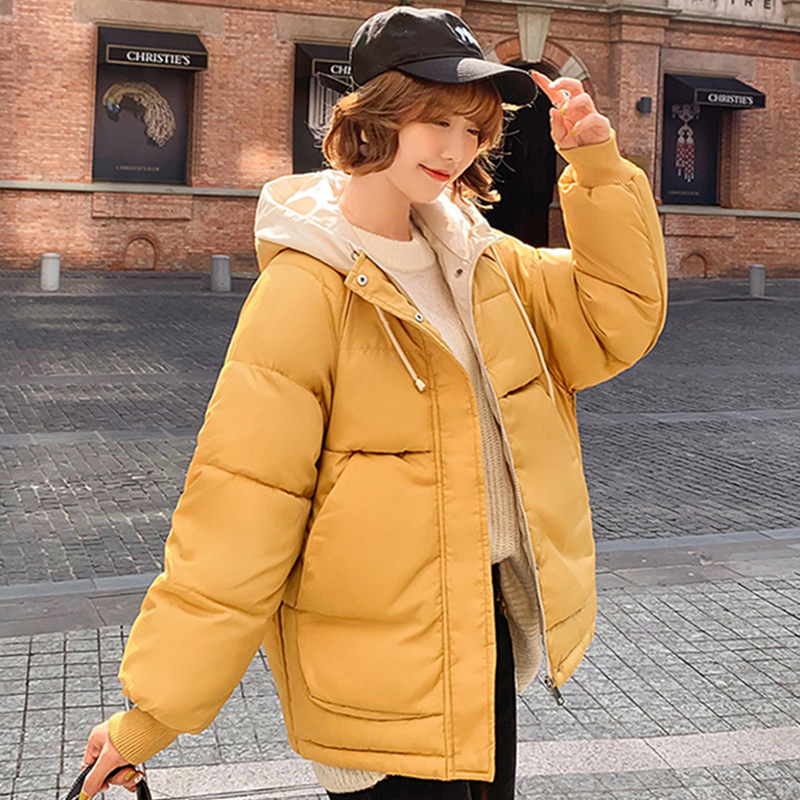 Ailegogo New Winter Women Hooded Cotton Coat Casual Female Short Bread Loose Wadded Jacket Coats Zipper Fashion Tops Outwear(China)