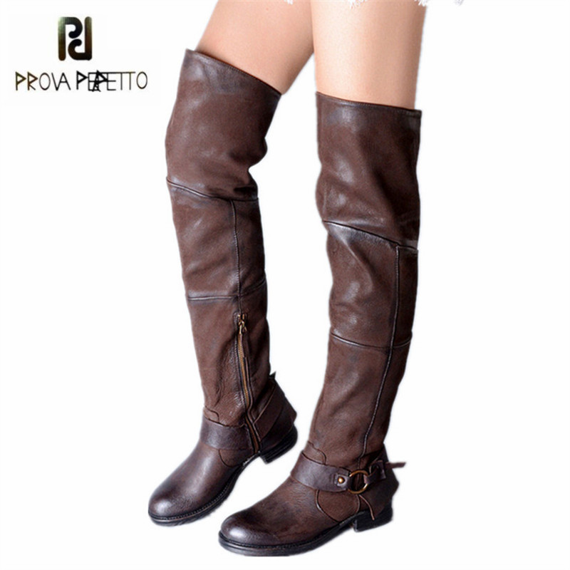 Prova Perfetto Handmade Women Thigh High Boots Casual Flat Over The Knee Boots Platform Rubber Long Boot Ladies Martin Boot