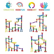 6 Styles Set DIY Construction Marble Race Run Maze Track Building Blocks Kids Ball Roll Toys Christmas Gift For Educational