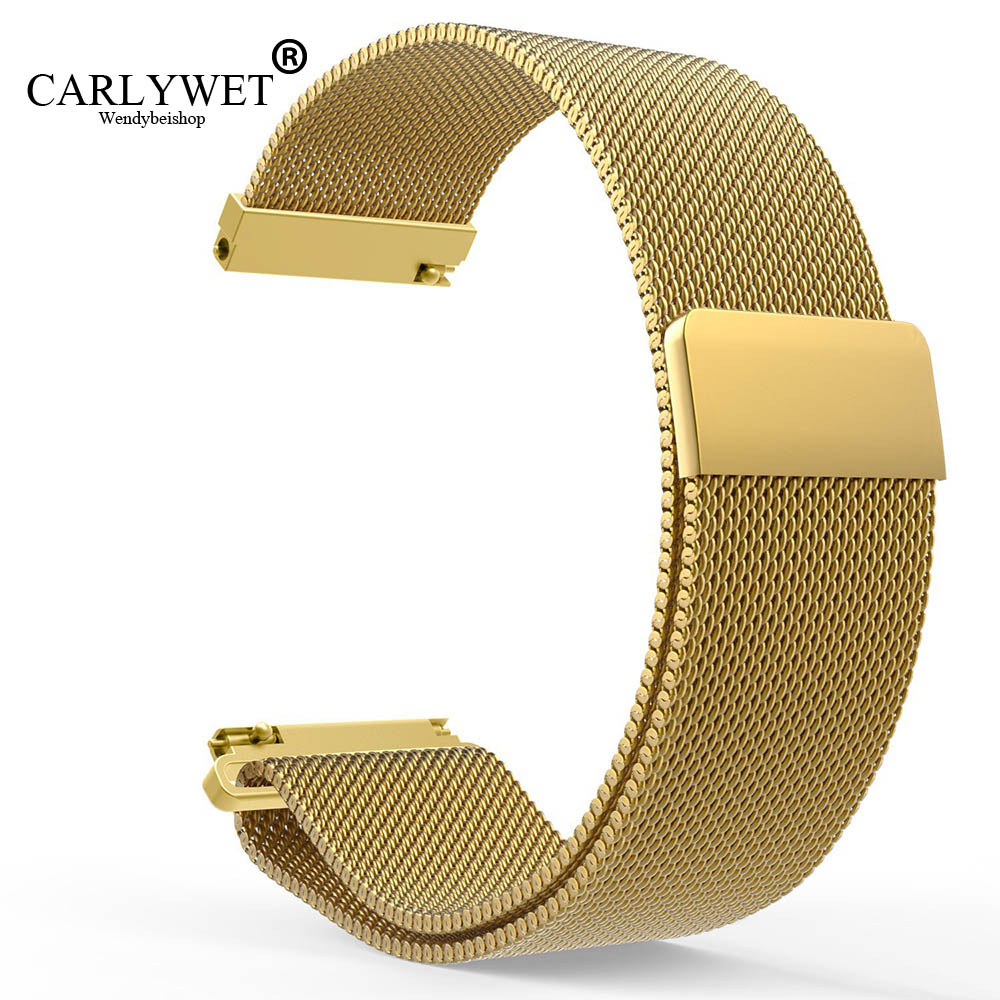 CARLYWET 16 18 20 22 23mm Silver Black Gold Rose Gold Blue Mesh Milanese Magnetic Closure Stainless Steel Wrist Watch Strap Loop stylish 8 led blue light digit stainless steel bracelet wrist watch black 1 cr2016