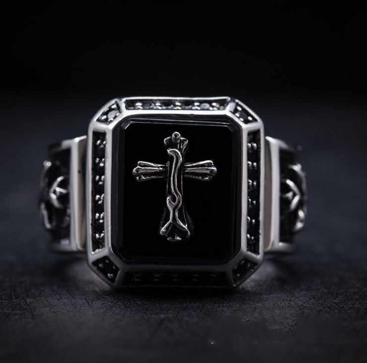 Кольцо из стерлингового серебра 925 пробы, инкрустированное натуральным полуночным крестным папой, религиозное кольцо в готическом стиле