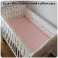 Promotion! 6PCS Cot Bedding Set for Girls boys Baby Crib Bedding Set,(bumpers+sheet+pillow cover)