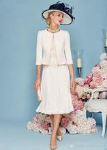 2017 Elegant Chiffon Lace Mother Of The Bride Dresses With Jacket Half Sleeve Tea-Length Mother Formal Evening Dress A67