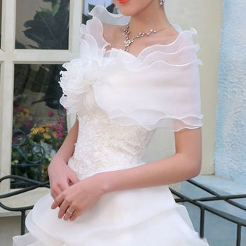 White Elegant Flower Multi Layer Tulle Shawl Wedding Wrap Bridal Chiffon Short Coat Fairy Marriage Accessories Wedding Jackets & Wrap
