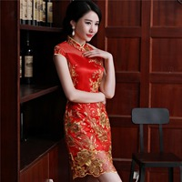 Chinese Wedding traditional embroidery red qipao lace dress