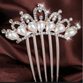 1PC Hair Jewelry Wedding Bridal Tiara Fashion Rhinestone Flower Faux Pearls Hairpin Clip Comb Accessorie Jewelry Hot Sale