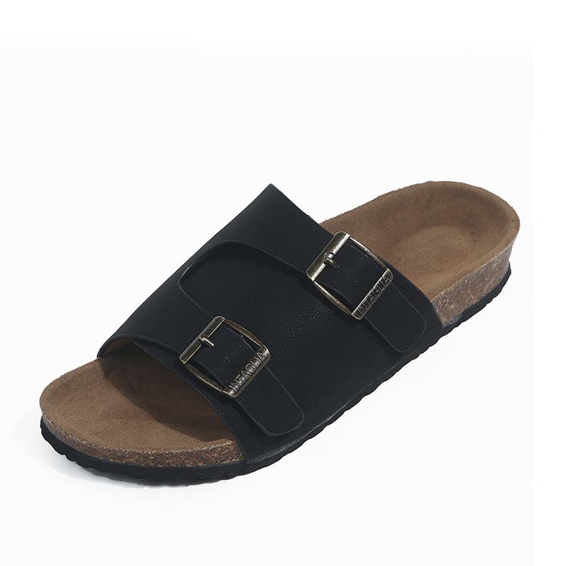 Été femmes gladiateur pantoufles daim boucle tongs liège plate-forme diapositives femme confortable décontracté chaussures de plage 8