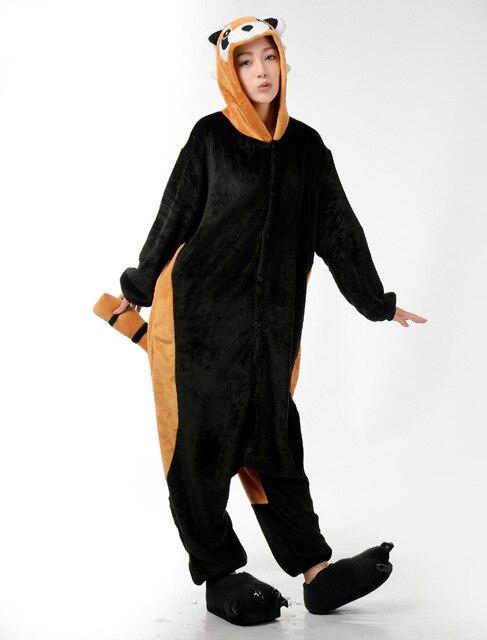 Кигуруми зимние унисекс Для мужчин Для женщин взрослых Кун пижамы Косплэй  костюм животного Комбинезоны енота пижамы c1c357bc1f0bf