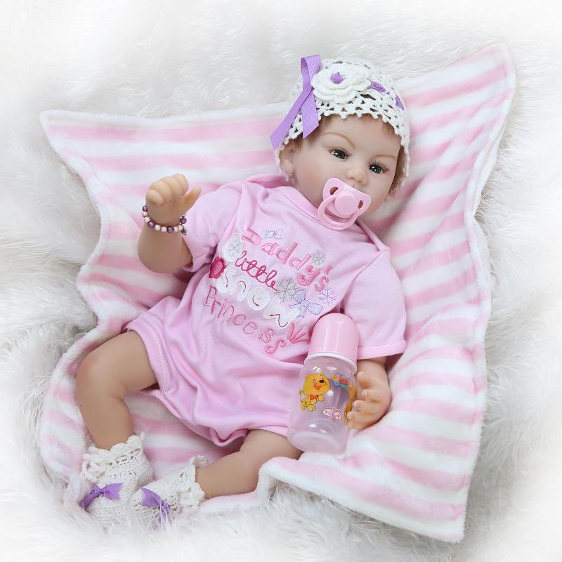 55cm Silicone Reborn Baby Doll kids Playmate Gift For Girls 22 Inch Baby Alive Soft Toys For Bouquets Doll Bebe Reborn