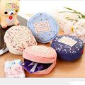 4 Colors Vintage Women Girl Kid Baby Storage Cute Flower Floral Coin Round Canvas Zipper Bag Change Wallet Purse