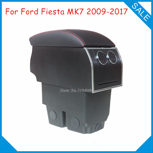 цена на FOR Ford New Fiesta MK7 2009-2016 No Drill 8pcs USB Armrest Car center arm rest console box with hidden cup holder Accessories