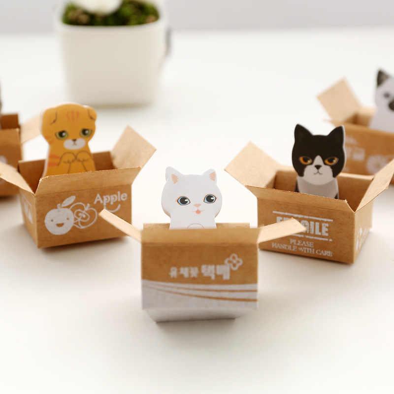 3D Kawaii chat chien boîte autocollants mignon dessin animé coréen papeterie Notes autocollantes bureau fournitures scolaires bloc-Notes Scrapbooking